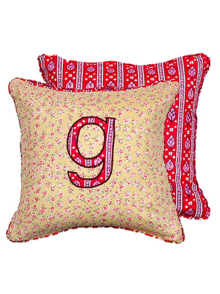Letter G Cotton Alphabet Cushion Cover - 12 Inch - Pinklay