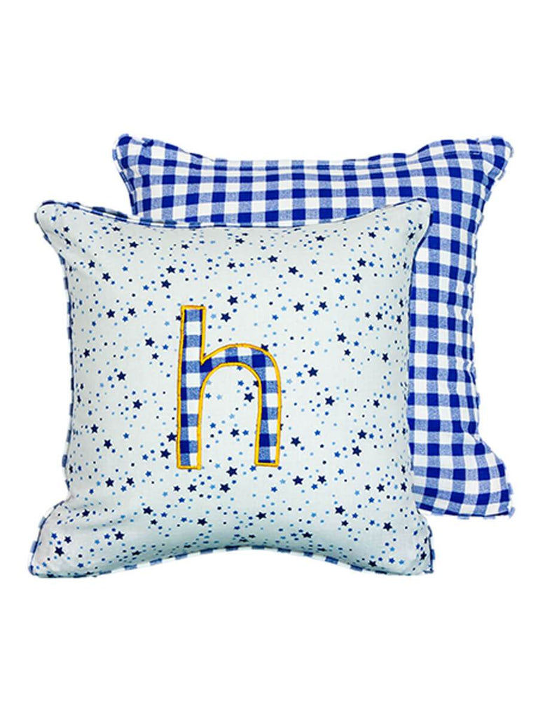 Letter H Cotton Alphabet Cushion Cover - 12 Inch - Pinklay