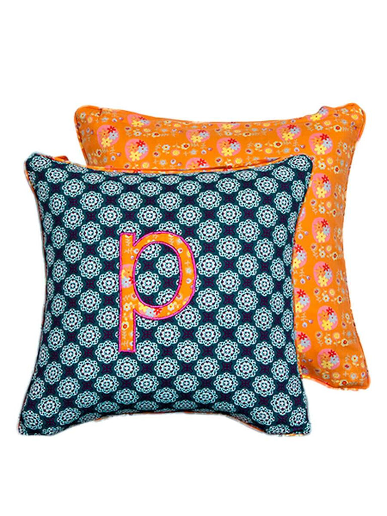 Letter P Cotton Alphabet Cushion Cover - 12 Inch - Pinklay