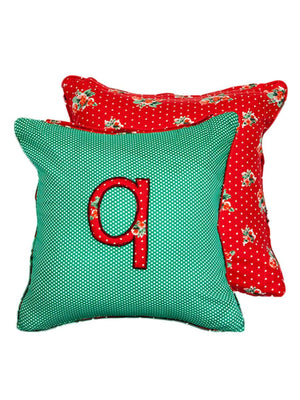 Letter Q Cotton Alphabet Cushion Cover - 12 Inch - Pinklay