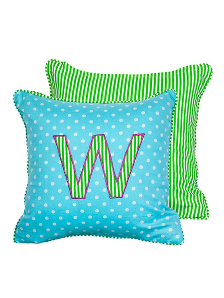 Letter W Cotton Alphabet Cushion Cover - 12 Inch - Pinklay