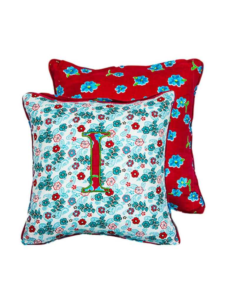 Letter I Cotton Alphabet Cushion Cover - 12 Inch - Pinklay