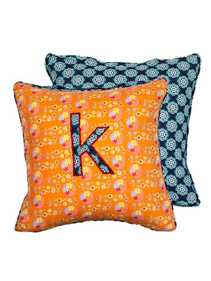 Letter K Cotton Alphabet Cushion Cover - 12 Inch - Pinklay