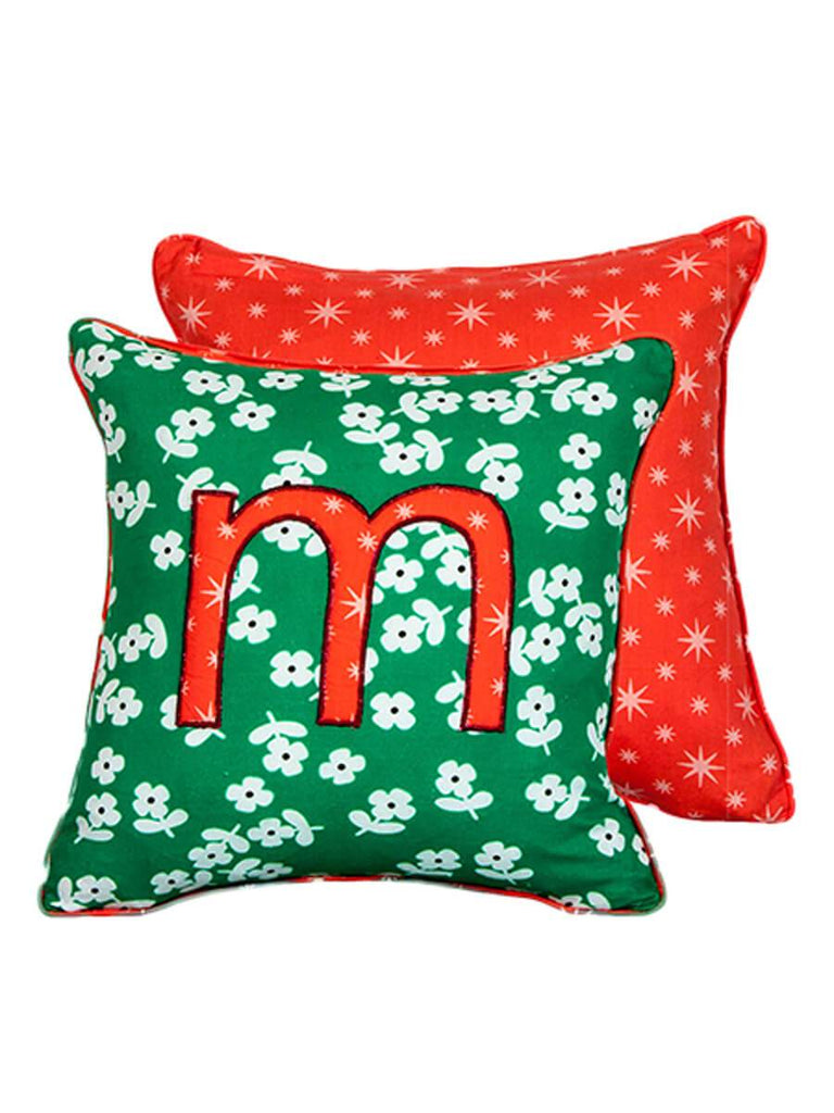 Letter M Cotton Alphabet Cushion Cover - 12 Inch - Pinklay