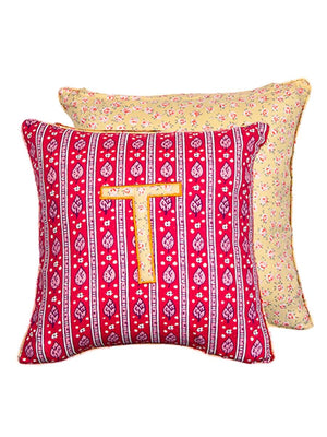 Letter T Cotton Alphabet Cushion Cover - 12 Inch - Pinklay