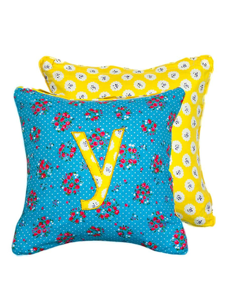 Letter Y Cotton Alphabet Cushion Cover - 12 Inch - Pinklay