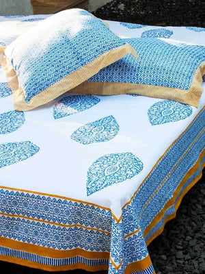 Indigo Mustard Hand Block Print Cotton Double Bed Sheet Set With 2 Pillow Covers - Pinklay