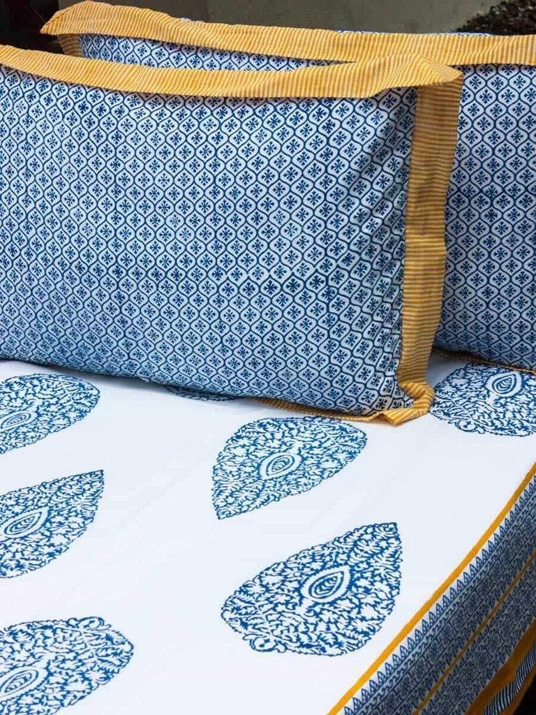 Indigo Mustard Hand Block Print Cotton Double Bed Sheet Set With 2 Pillow Covers Bed Sheet