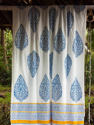 Indigo Hand Block Print Cotton Curtain with Border & Concealed Loops - Pinklay
