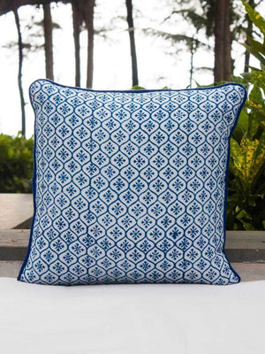 Indigo Hand Block Print Double Side Printed Cotton Cushion Cover - 12 Inch - Pinklay
