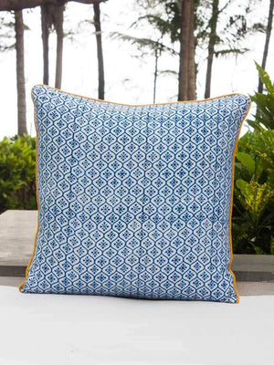 Indigo Mustard Hand Block Print Double Side Printed Cotton Cushion Cover - 16 Inch - Pinklay
