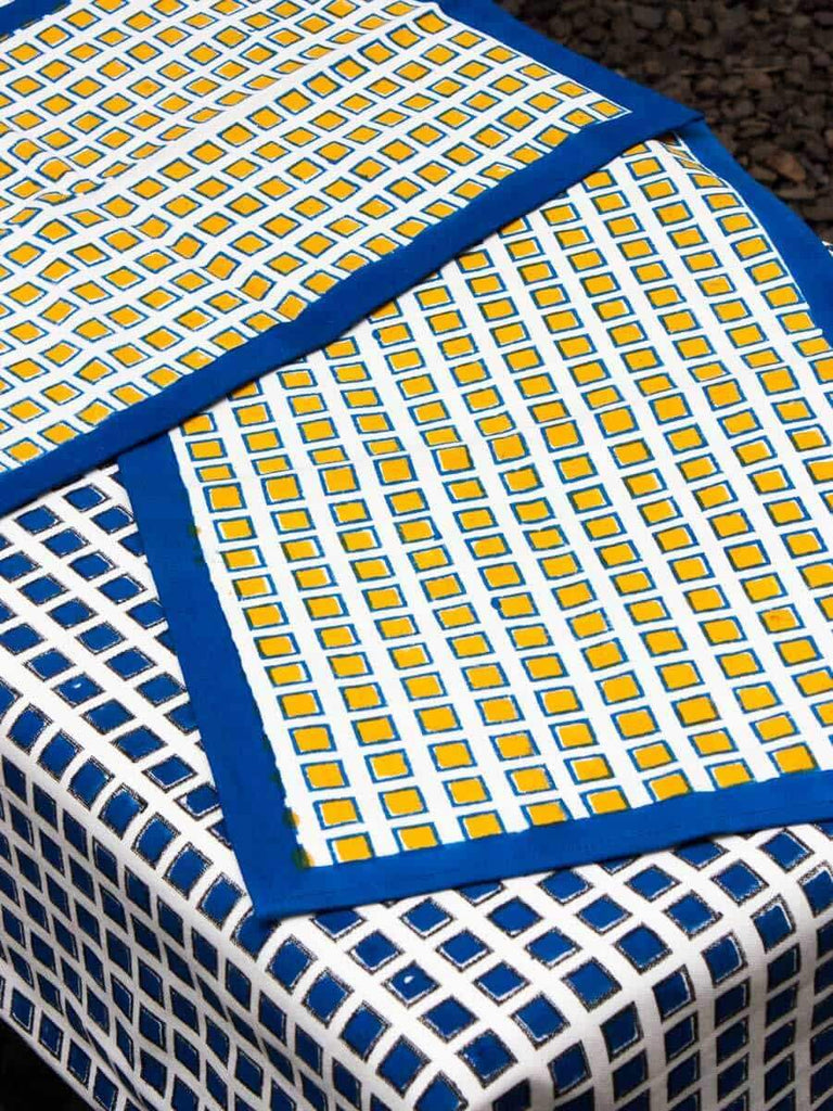 Indigo Hand Block Print Cotton Table Mats - Set of 2 Table Mats Runners Napkins Tea Cozy