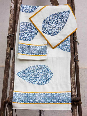 Indigo Hand Block Print Cotton Bath Towel - Pinklay