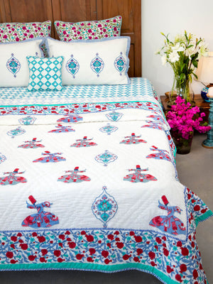 Mahtab Whirling Dervish Hand Block Print Jaipuri Razai, Cotton Quilt - Pinklay