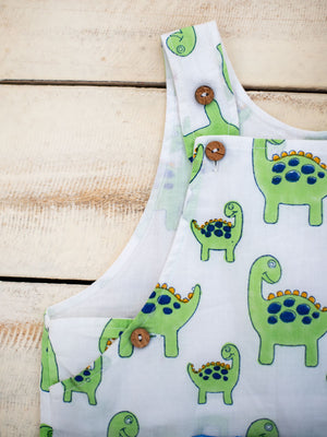 Dino Organic Cotton Dungarees - Pinklay