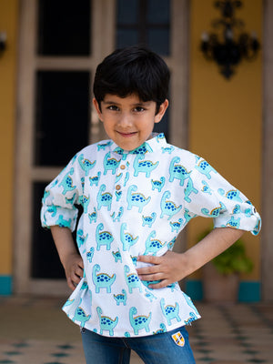 Dino Shirt Kurta with Roll Up Sleeves (Short Kurta) - Pinklay