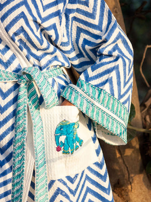 Elephant Hand Block Print Cotton Bath Robe