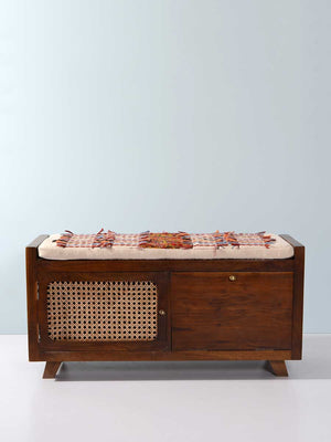 Elizabeth Acacia Solid Wood Storage Bench With Seat Cushion