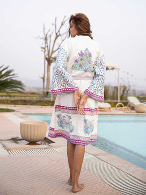 Fields of Lavender Hand Block Print Cotton Bath Robe - Pinklay
