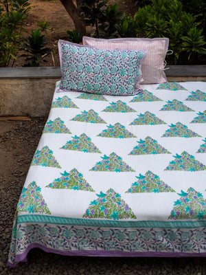 Fields of Lavender Hand Block Print Cotton Bed Sheet Set With Complementing Pillow Covers