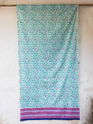 Firefly Hand Block Print Cotton Curtain with Border & Concealed Loops - Pinklay