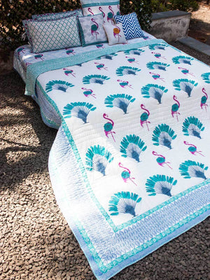 Tropical Paradise Hand Block Print Jaipuri Razai, Cotton Quilt - Pinklay