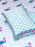 Flamingo Hand Block Print Cotton Double Bed Sheet Set With 2 Pillow Covers - Pinklay
