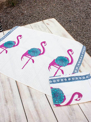 Flamingo Hand Block Print Cotton Hand Towels - Set of 2 - Pinklay