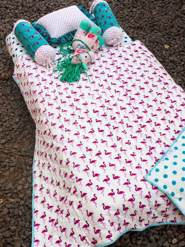 Flamingo GOTS Certified Organic Cotton Reversible Single Bed Quilt