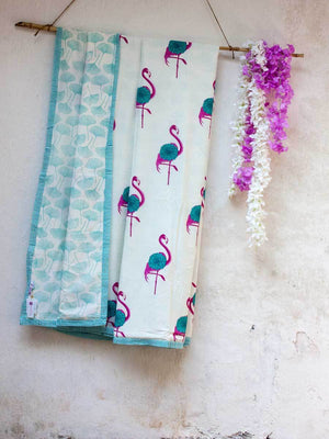 Flamingo Cotton Muslin Dohar, Hand Block Print Summer Blanket - Pinklay