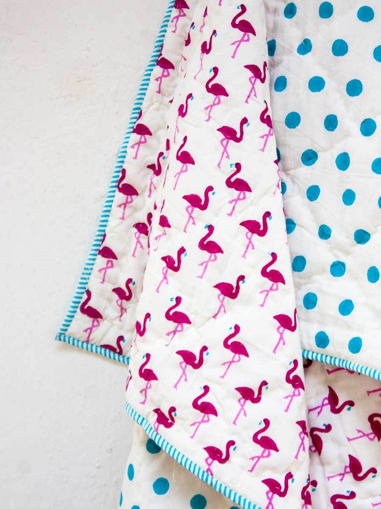 Flamingo GOTS Certified Organic Cotton Reversible Quilt for Infants - Pinklay