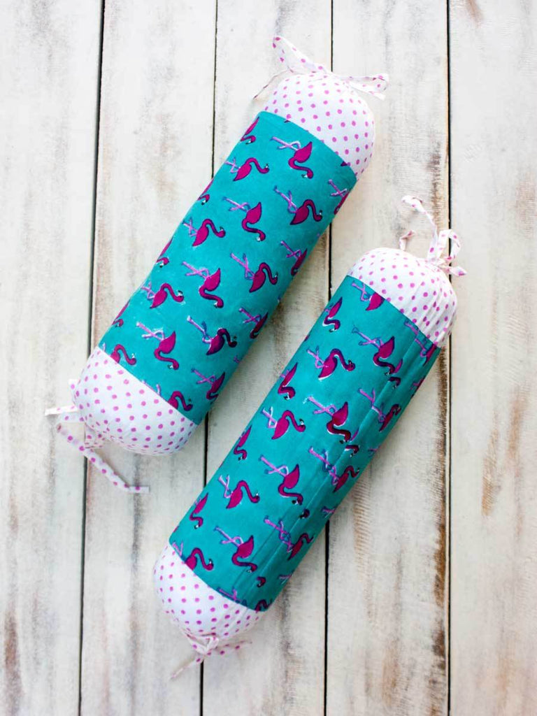 Flamingo Organic Cotton Infant Bolster - Set of 2 - Pinklay