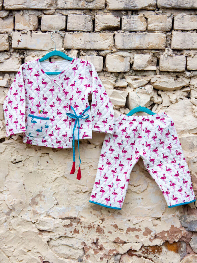 Flamingo Quilted Organic Cotton Angrakha Set - Pinklay