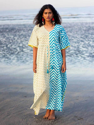 Flirtatious Waves Hand Block Printed Cotton Kaftan with Pompoms - Pinklay
