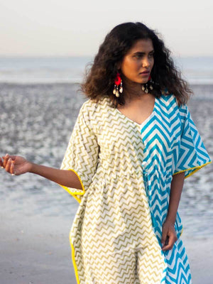 Flirtatious Waves Hand Block Printed Cotton Kaftan with Pompoms Kaftans