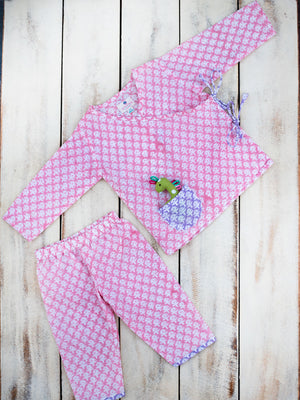 Pink Blossom Organic Cotton Angrakha Set - Pinklay