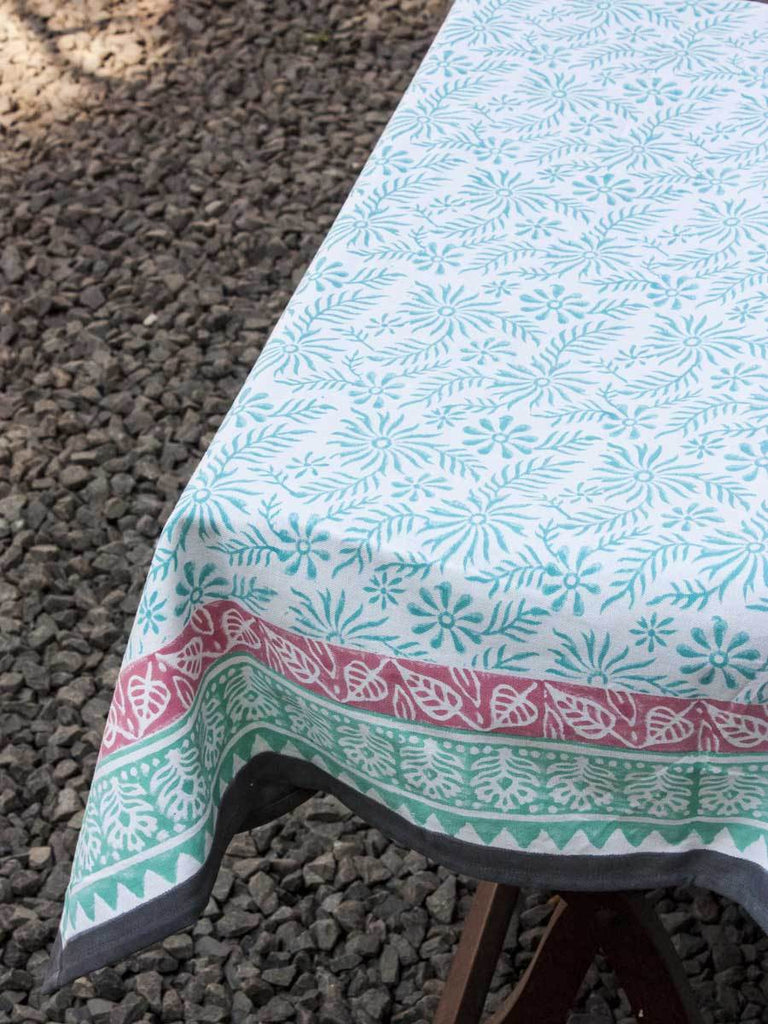 Floral Poetry Hand Block Print Cotton Table Cover - Pinklay