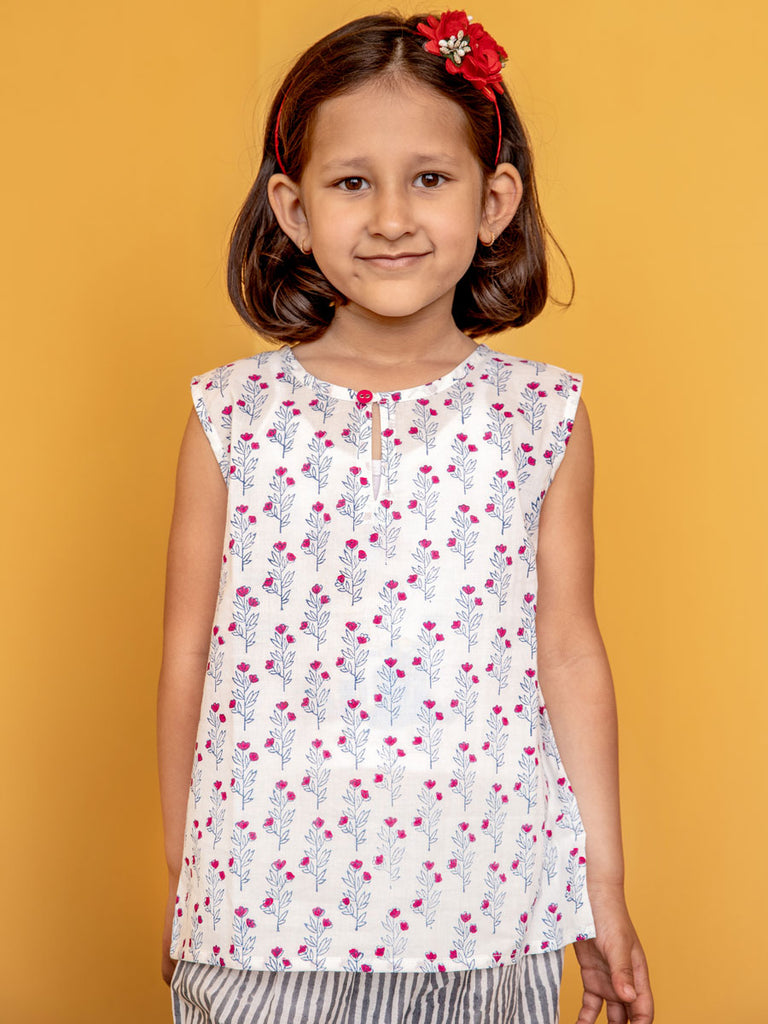 Spring Bloom Organic Cotton Top & Shorts Set - Pinklay