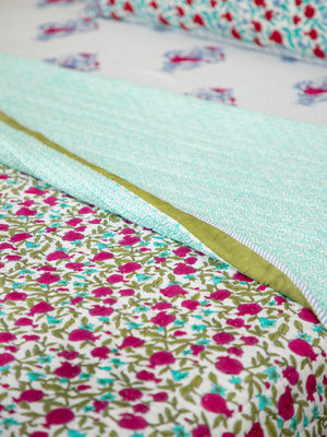 Fruit of Paradise Hand Block Print Jaipuri Razai, Cotton Quilt - Pinklay