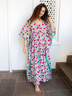 Fruits of Paradise Hand Block Print Cotton Kaftan - Pinklay