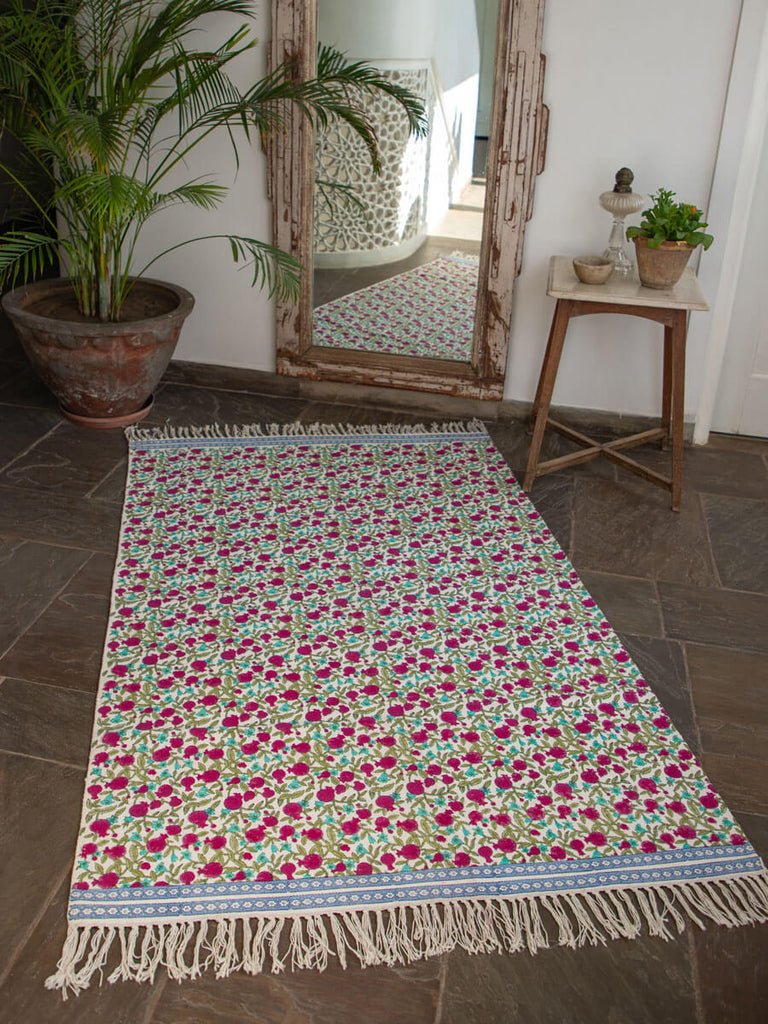 Fruits of Paradise Hand Block Print Cotton Dhurrie Rug - Pinklay