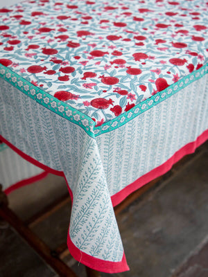 Fruits of Paradise Hand Block Print Cotton Table Cover - Pinklay