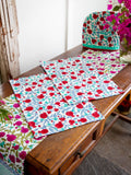Fruits of Paradise Hand Block Print Cotton Table Mats - Pinklay