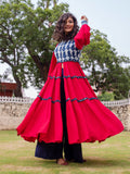 Fuchsia Rose Quilted Anarkali Jacket Dress - Pinklay