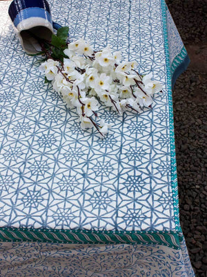 Geometrical Hand Block Print Cotton Table Cover - Pinklay