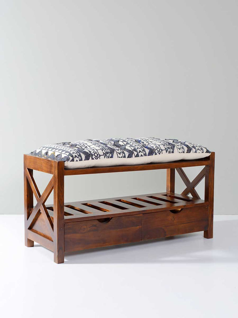 Girnar Acacia Solid Wood Storage Bench With Seat Cushion