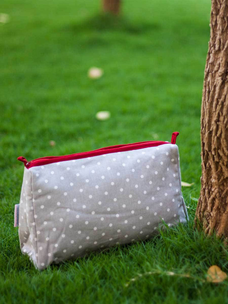Grey Polka Fabric Travel Case, Toiletry Bag - Pinklay