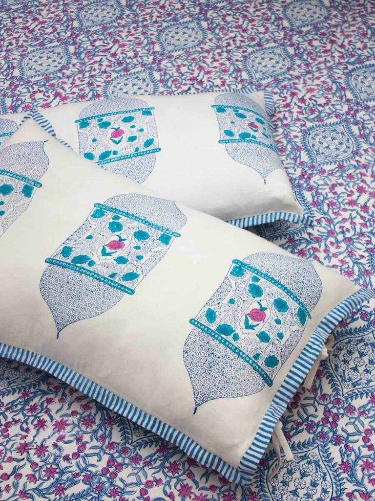 Gul Hand Block Print Cotton Pillow Cover - Set of 2 - Pinklay