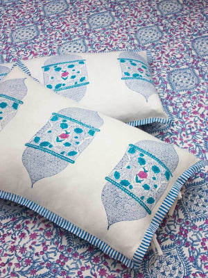 Gul Hand Block Print Cotton Pillow Cover - Set of 2