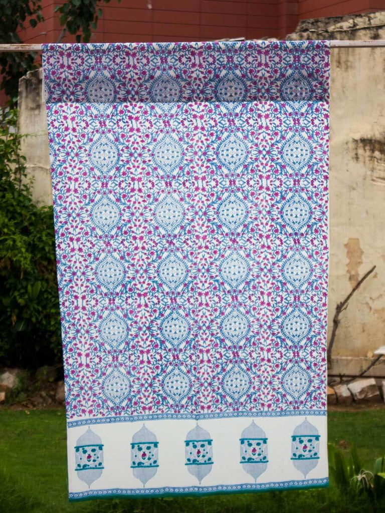 Gul Hand Block Print Cotton Curtain With Border & Concealed Loops